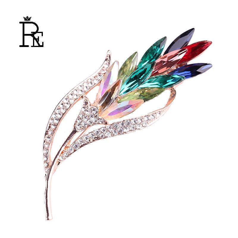 Persewaan Mobil Multi-Warna Kristal Gandum Bros untuk Wanita Rhinestone Bros Pin Fashion Perhiasan Gaun Mantel Korsase Bunga O0635