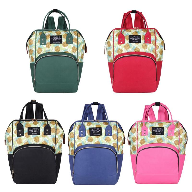 Fashion Pineapple Print Mommy Travel Backpacks Nylon Nappy Top-handle Bags