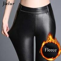 Jielur Winter New Fashion Black PU Leather Pants Women Plus Size Fleece High Waist Leggings Femme Camouflage Lace Pantalon Femme