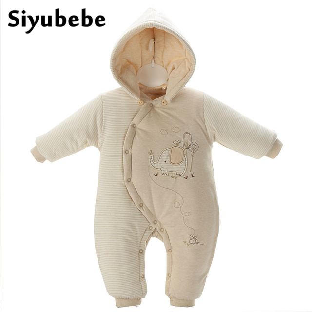 Winter Baby Rompers Organic Cotton Baby Hooded Snowsuit Jumpsuit Long Sleeve Thick Warm Baby Girls Boy Romper Newborn Clothing