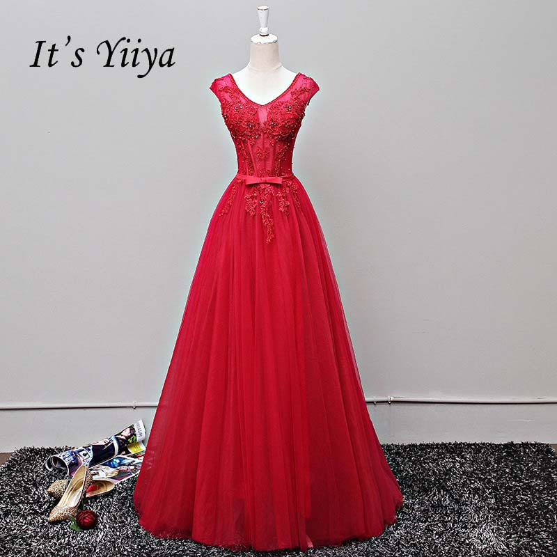 It's YiiYa V-neck Bow Sleeveless Backless A-line Appliques Beading Lace Up Party Frocks   Dresses   Floor Length   Evening     Dress   LX011