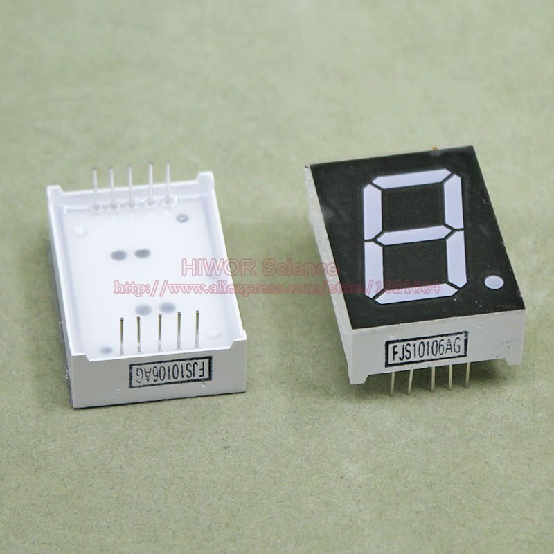 (10pcs/lot) 10 Pins 10011AG 1 Inch 1 Bit Digit 7 Segment Green LED Display Share Common Cathode Digital Display