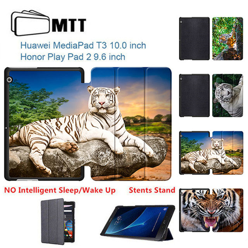 MTT Tiger Protective Cover Smart For Huawei MediaPad T3 10 AGS-L09/L03 PU Leather Tablet Case cover For Huawei T3 10 9.6 tablet new slim cover transparent pc back case for huawei mediapad t3 7 3g bg2 u01 tablet case t3 3g 7 0 screen protection stylus