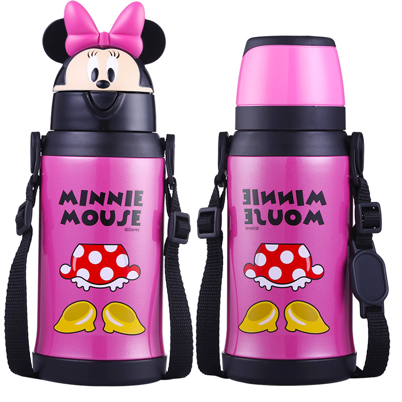 Disney 550ml Baby Feeding Cup Drinker Children's Bottles With Silicone Straw Leak-proof 304 Stainless Steel Tumbler Vaccum Flask leakage proof straw cap for drinking bottles 2 7cm random color