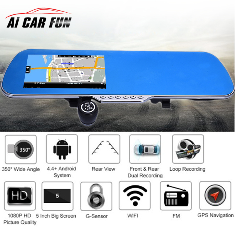 5 1080P Android 4.4 Car DVR Driving Recorder With Front Rear Dual Lens GPS Navigation+Backing Rearview+WIFI +FM Transmitter hot 7 inch android 4 0 quad core car gps navigation with dvr recorder 1080p 8g media player fm transmitter support wifi igo map