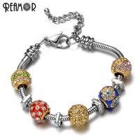REAMOR 316l Edelstahl Weihnachten Farbe Europäischen Kristall-perlen Schwimmdock Platz Spacer Pan Stil Schlangenketten Armband Charme