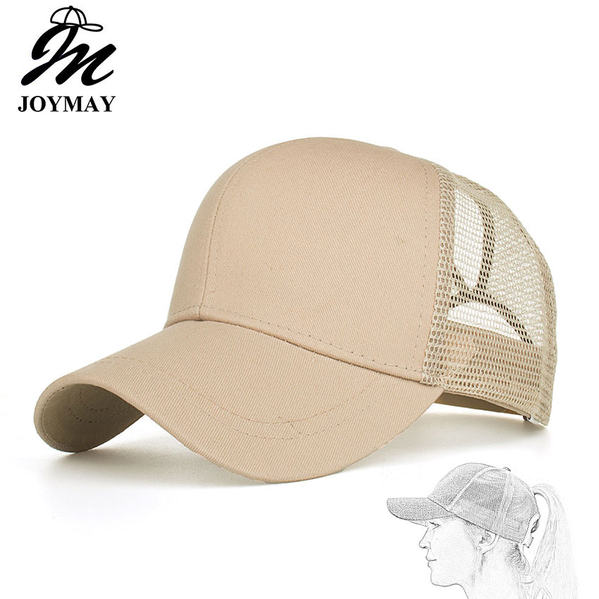 Joymay 2018 Ponytail Baseball Cap Women Messy Bun Snapback Summer Mesh Hats Casual Adjustable Caps Drop Shipping Accept B542