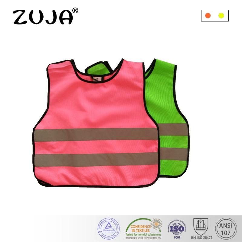 2 Colors Pink Green Kids Reflective Safety Vest Hi-Vis Keep Safe