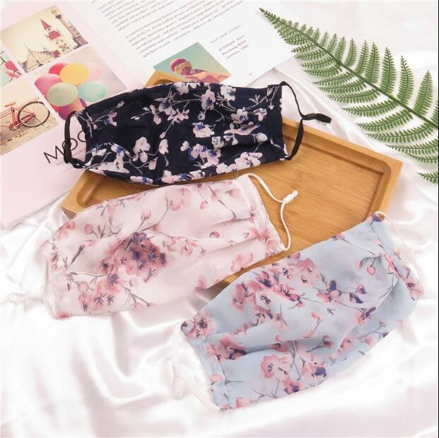 Women's Thin Sunscreen Flower Print Gauze Masks Lady's Chiffon Mesh Mask R197