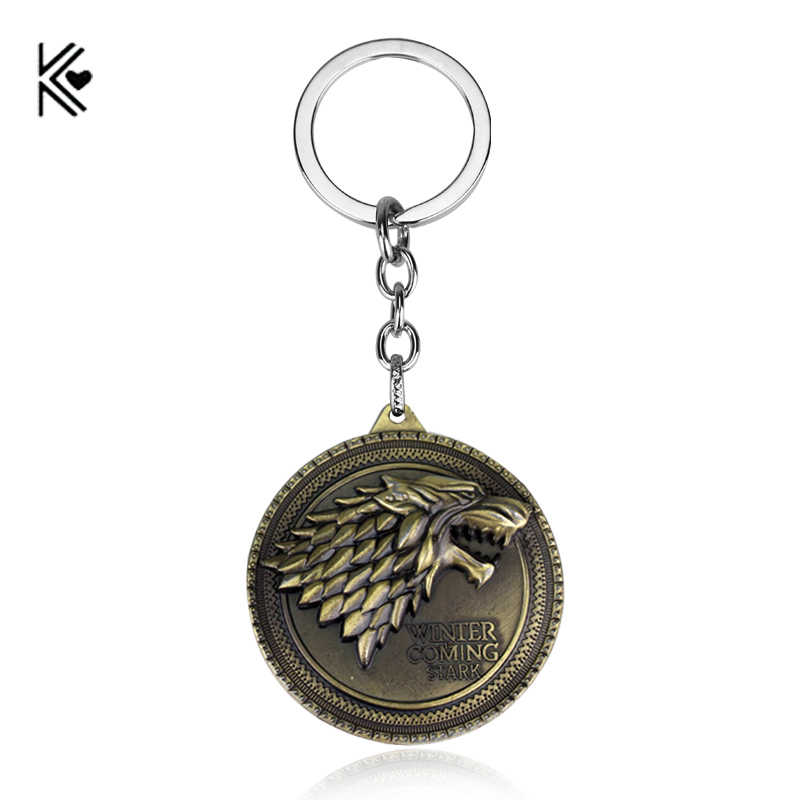 DropShipping Game of Thrones Shield Round Coin Metal a Song of Ice and Fire Keychain Pendant Keychain Chaveiro Key Ring for fans