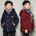 O Novo 2016 Jaqueta de Inverno Menino das Crianças Britânicas Triângulo Mark Algodão-acolchoado Roupas Molhadas Crianças do Inverno das crianças roupas