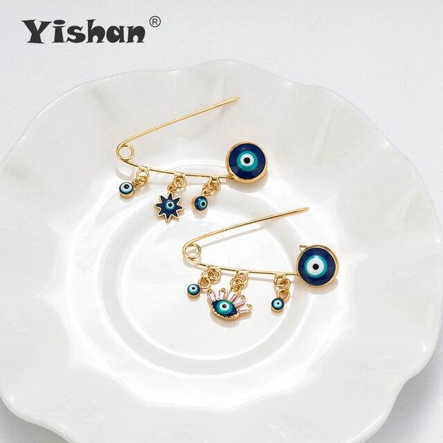 Yishan Sliver/broche de hierro dorado ojo malvado elefante forma trasera insignia titular seguro bloqueo broche alfileres DIY hallazgos joyería accesorios