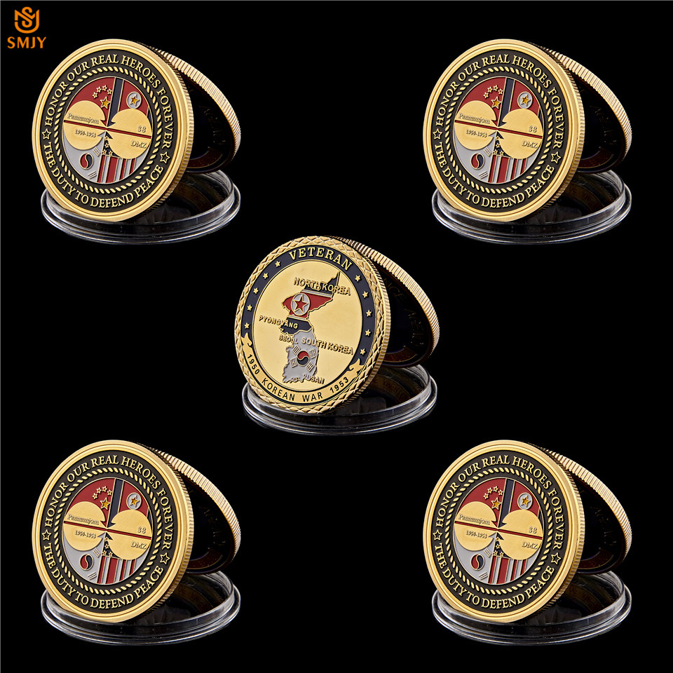 5Pcs 1953 Korean War Veteran Glory Medal Gold Military Challenge Coin Collection
