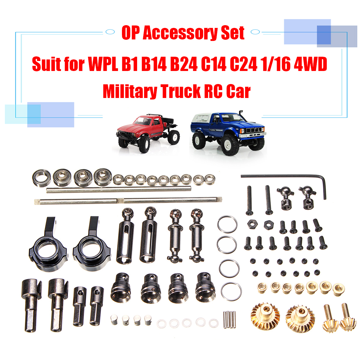 For WPL RC Car B1 B14 B24 C14 C24 1/16 4WD Military Truck RC Cars Spare Part Set Upgrade Metal OP Accessory Set Perfect-fit