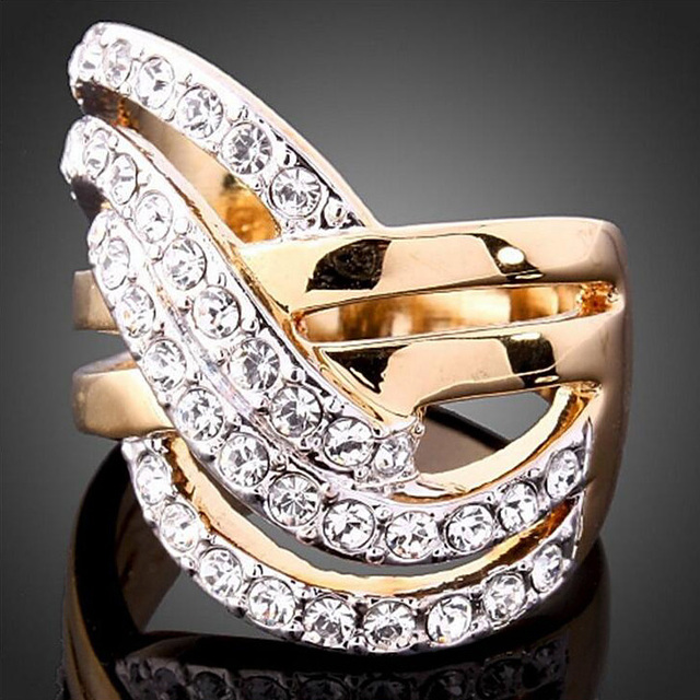 New Sale Wide Gold Color Cross Rings For Women Female Fashion Jewelry Party Finger Ring