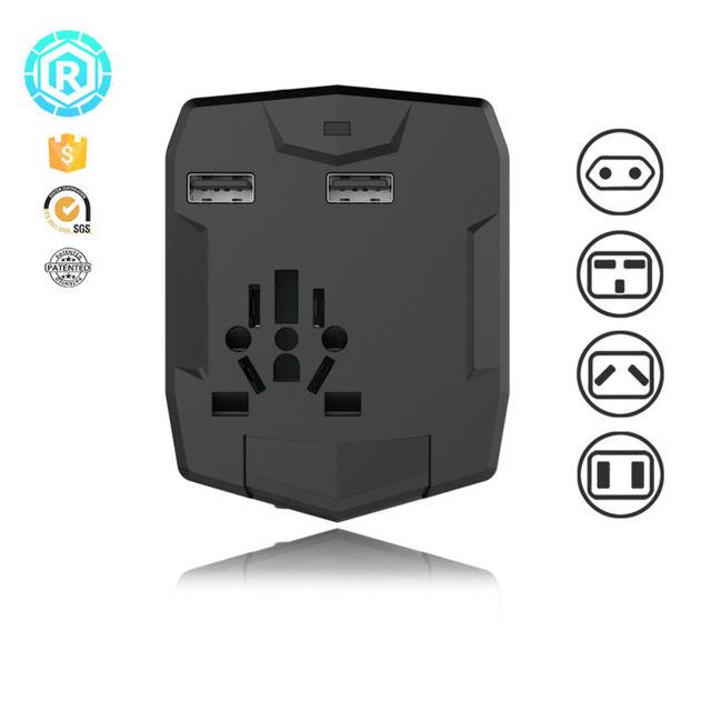 Adaptador de viagem Com Banco De Potência 2 Portas USB com Carregador de Telefone powerbank Carregamento Rápido Carregador de Celular Universal EUA REINO UNIDO AU plug UE
