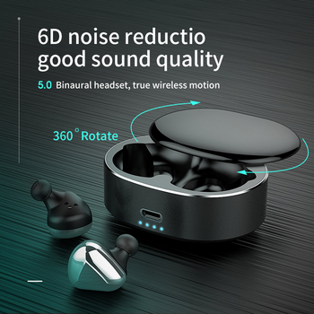 T50 TWS Wireless Earphone Bluetooth 6D Stereo Headset Noise Reduction Gaming Sport Mini Earbuds Rotating charging box