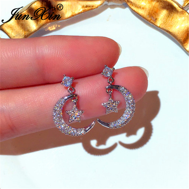 JUNXIN Cute Small Star Moon Stud Earrings For Women Daily Jewelry White Crystal Zircon Wedding Earrings Silver Color Earring