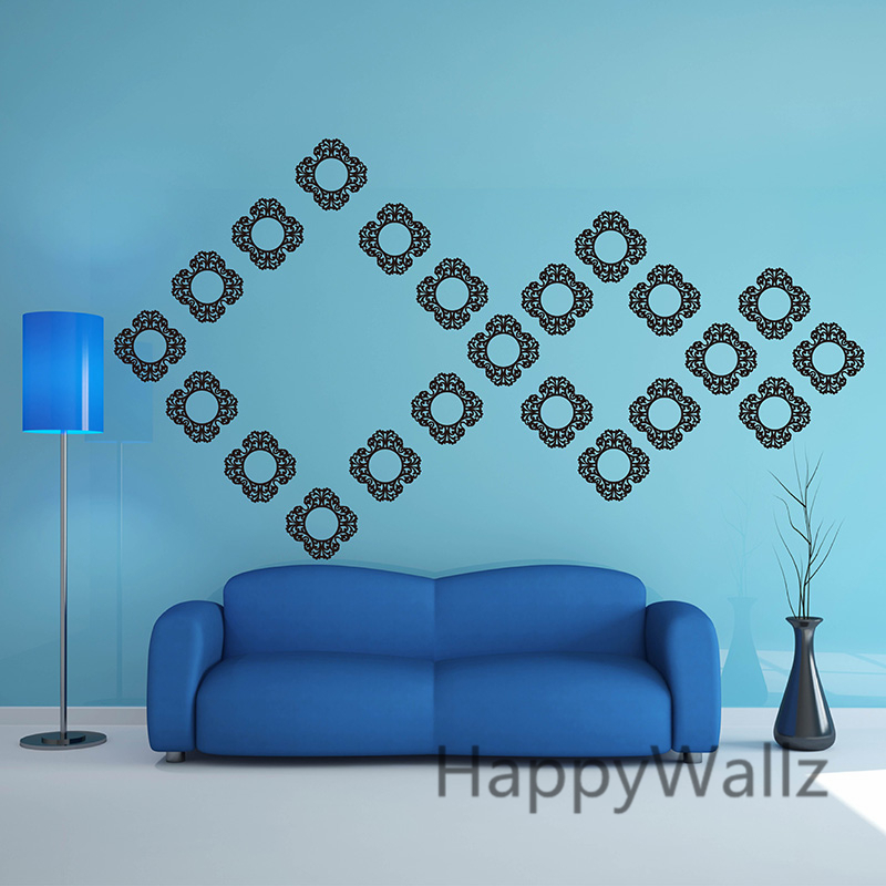 Damask Wall Stickers Damask Modern Wall Decal DIY Removable Vinyl Wall Art Modern Decors Office P43