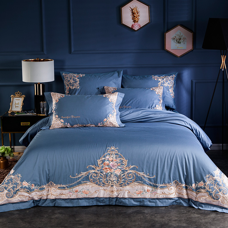 Luxury 100S Egyptian Cotton Palace Bedding Set Royal Embroidery Blue Pink Green Red Duvet Cover Bed Sheet Bed Linen Pillowcases