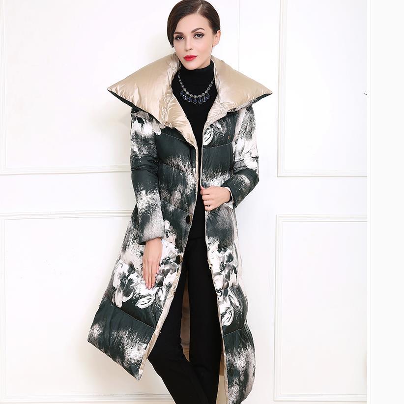 Épais Femmes Hiver Taille Grande Coton Long Manteau Femme Multi Rembourré Impression n0mwv8N