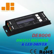 Frete grátis dmx512 decoder & led driver 3 canais rgb controlador de tensão constante única saída ch pwm <4a modelo: de8006