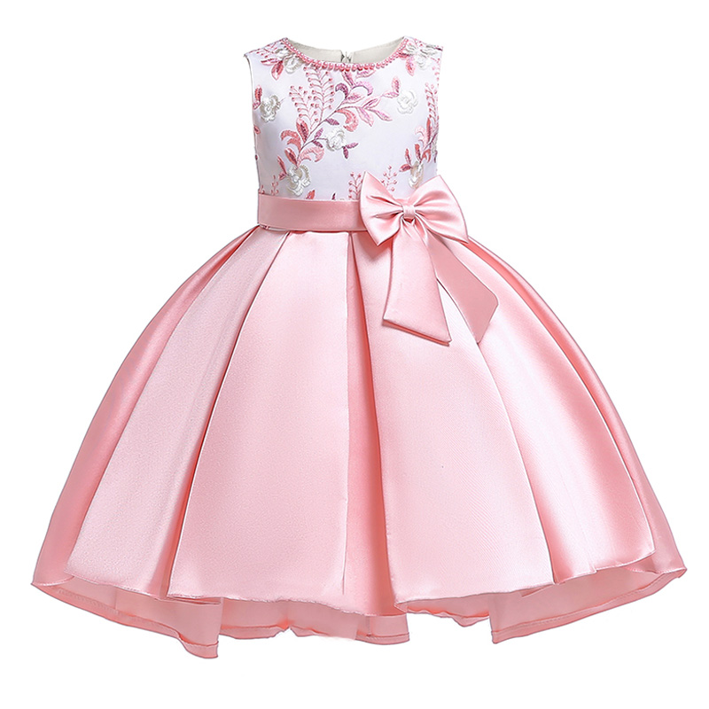 Flower     girl     dresses   first communion   dresses   for   girls   embroidered bow for kids children's clothing baby fluffy costume T5087