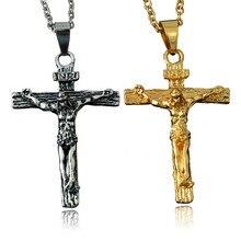 Necklace Pendant Brand Necklace Antique Silver/Gold Color Jewelry Cross Crucifix Jesus Cross Pendant Necklaces For Women Men