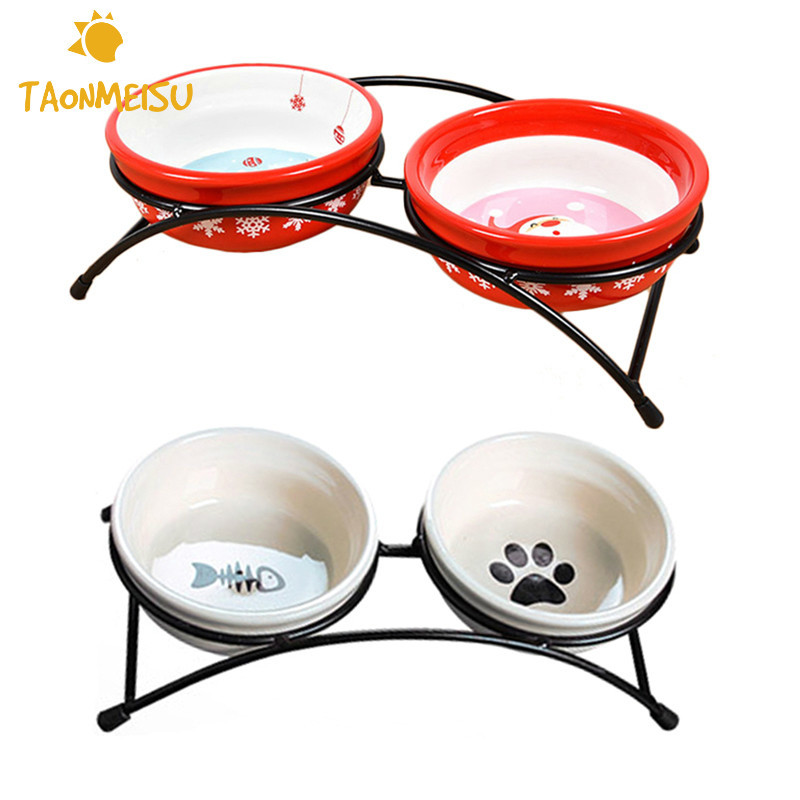 Cartoon Style Ceramic Pet Bowl Pet Feeder Pet Supplies For