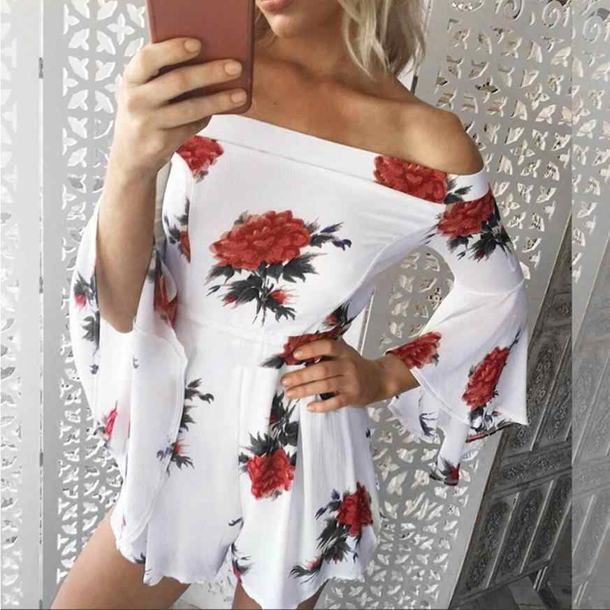 Sexy Overalls Women's Overalls Summer Shorts For Women's Beach Floral Prints Overall Clubwear Bodycon Overall Romper