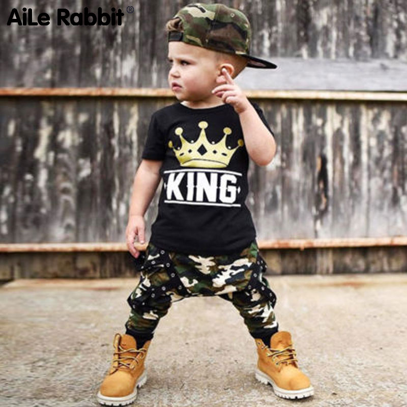 AiLe Rabbit Toddler Kids Baby Boys Tops T-shirt Camo Pants 2Pcs Outfits Set Clothes 0-5T Letter Crown Short Sleeve Camouflage image
