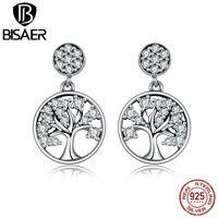 Bijoux Fashion Design 925 Sterling Silver Earrings Tree Of Life Clear CZ Stud Earrings For Women
