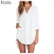 Blusas 2019 Sexy Women Chiffon White Shirts See Through Long Sleeve Casual Irregular Blouse Tops Plus Size(China)