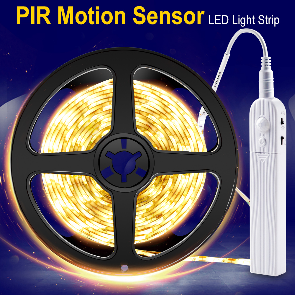 PIR Wireless Motion Sensor LED Strip Night Light Battery Powered For Wardrobe Closet Cabinet Light LED Wall Lamp Tape 2835SMD