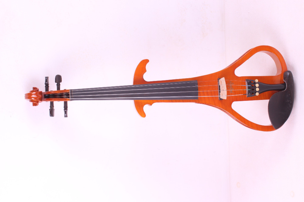 4 string orange    4/4 Electric Violin Silent Pickup Fine tone Solid wood3# the item is the color can choose color one red 4 string 4 4 violin electric violin acoustic violin maple wood spruce wood big jack color