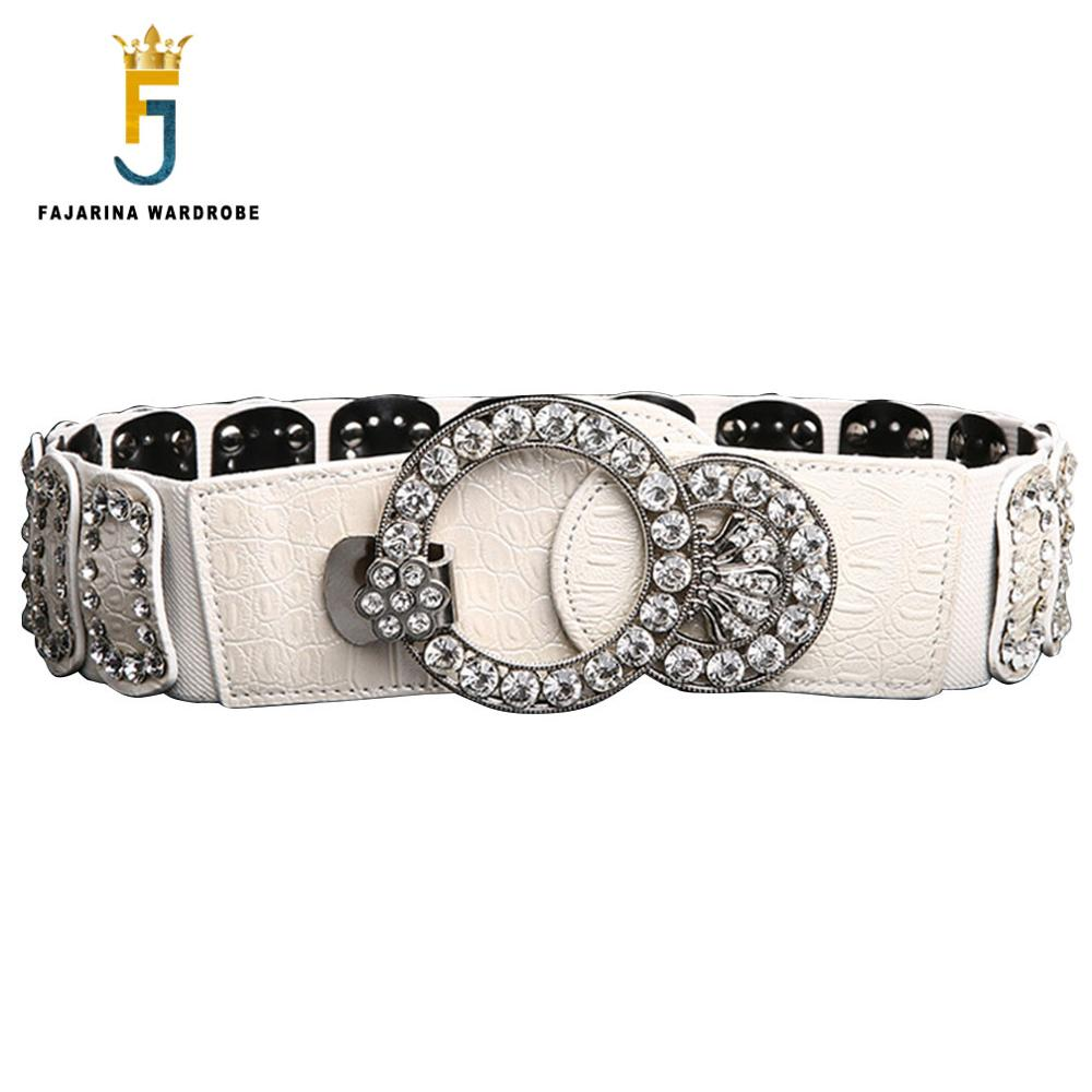 FAJARINA Fashion Crystal Diamond Patchwork Decorative Female Elastic Waistband Waist Accessories For Woman 5cm Width AMS063