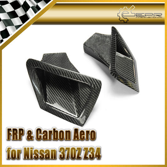 Car-styling Carbon Fiber Front Bumper Duct Set Glossy Fibre Finish Air Vent  Accessories Racing Trim Fit For Nissan 370Z Z34 epr car styling for mazda rx7 fc3s carbon fiber triangle glossy fibre interior side accessories racing trim
