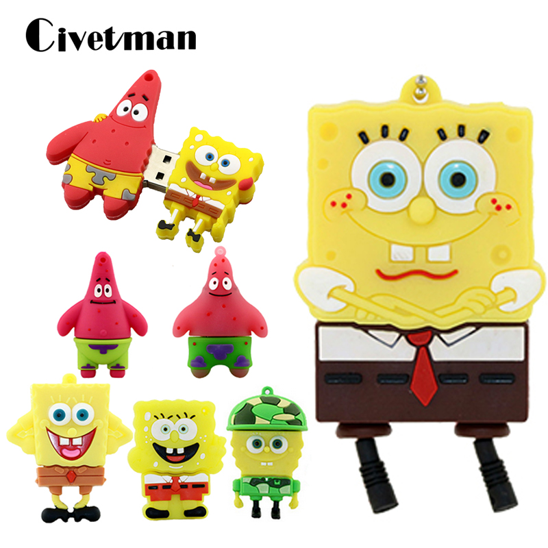 Pendrive Spongebob Animado 8GB 16GB 32GB 64GB USB Flash Drive Cute Patrick Together Lovely Cartoon Memoria USB Stick Pen Drive