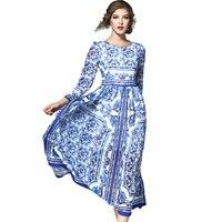 Neue 2018 Frühling Im Westlichen Stil Eleganten Blauen Und Weißen Porzellan Gedruckt Kleid