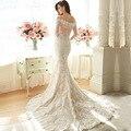 MW11 vestido Де novia свадебное платье сшитое с русалка талии с Лодки шеи свадебное платье плюс размер 2016 robe de mariage