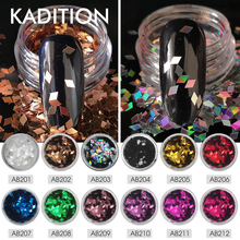 KADITION Nail Glitter Colorful Shiny Sequins 1g Rhombus Shape Nail Art DIY 3D Diamond Glitter Charm Flakes Decorations Manicure
