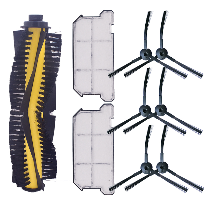 1 *Main Brush + 6 * Side Brush + 2 * Hepa Filter Dustproof For ILIFE V7 V7s V7S Pro Robot Vacuum Cleaner Spare Parts Replacement