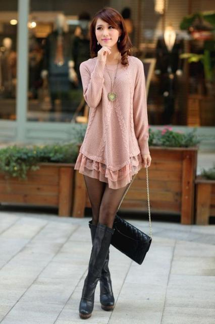 Autumn Lace Patchwork Hem Women Sweater Dress Oversized Long Sleeve Pink Knitted Sweater Casual Pullovers Female Clothing Tops