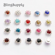 Free shipping 12mm sparkle rhinestone button flatback silver plating for hair accessory 50PCS/lot(BTN-5251)