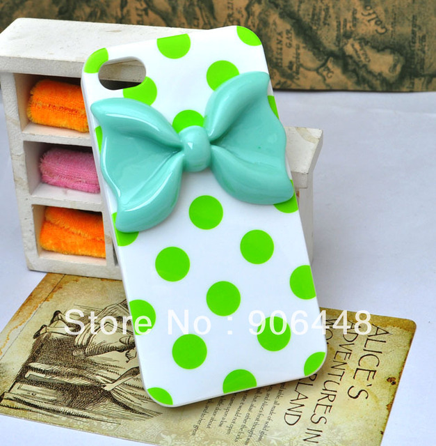Soft Silicone cell phone case for iphone 4 4S with dots and bow, please choose colors 1PCS