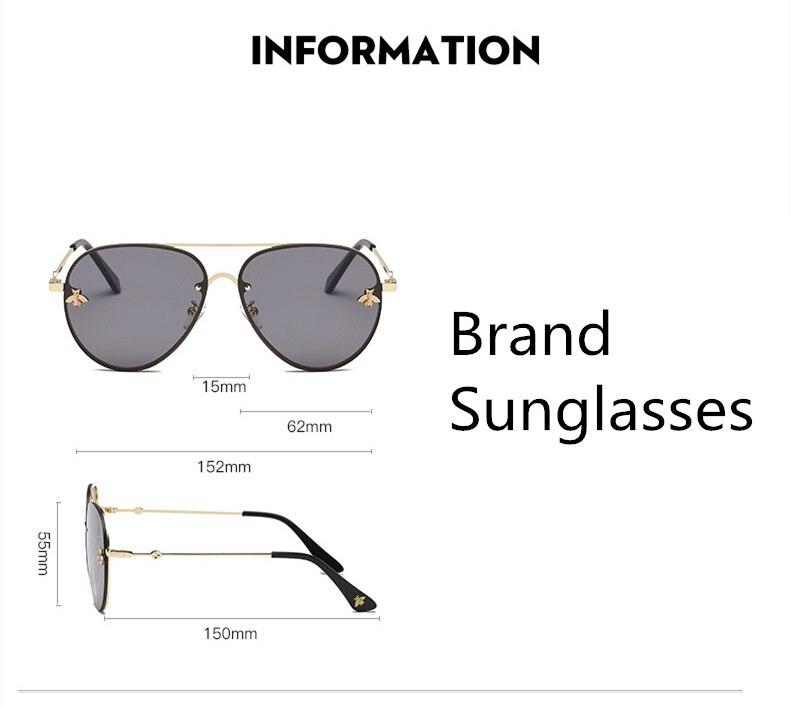 ASOUZ 2019 new fashion ladies sunglasses UV400 metal oval frame bee sunglasses classic brand design sports driving sunglasses (8)