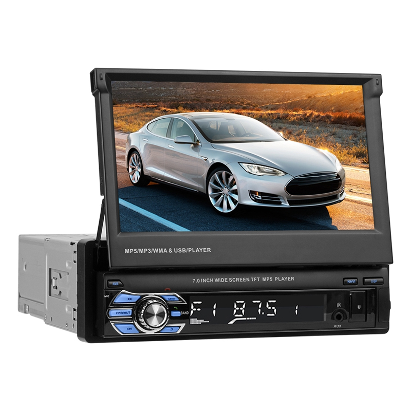 VODOOL Foldable 7 Touch Screen 1080P Car Stereo MP3 MP5 Player GPS Navigation Bluetooth Video Display