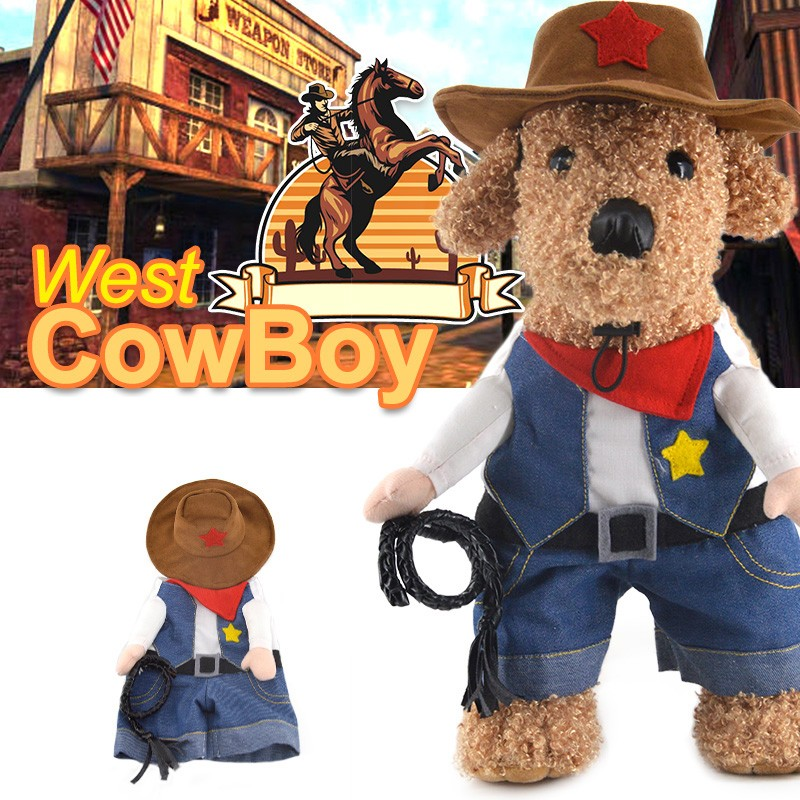 Funny Halloween mascota gato perro vaquero Cosplay con el sombrero del perro pequeño perro perrito Jean jacket ropa de abrigo perro de Pitbull ropa