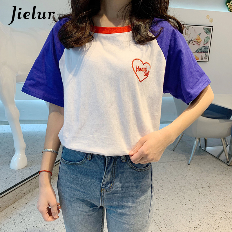 Jielur Sweet Girls Tshirt Women Hit Color Embroidery Raglan Sleeve T-shirt Female Love Letter Pink Blue S-XL Summer Top New 2020(China)