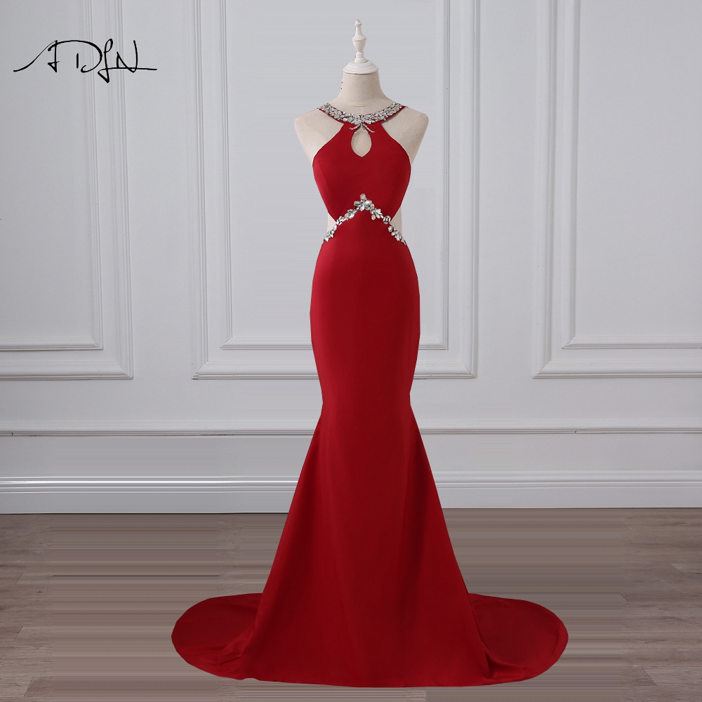 ADLN Beaded Collar Mermaid   Evening     Dresses   Halter Sleeveless Sexy Back Long Prom Gown Red Wedding Party Wear 2019